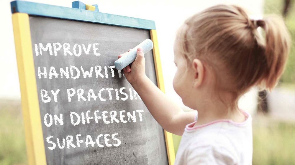 Improve handwriting blog image. Kid writing on chalk board