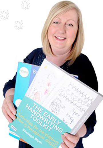 Improve handwriting with Sheilagh Blyth, OT image with 2 books