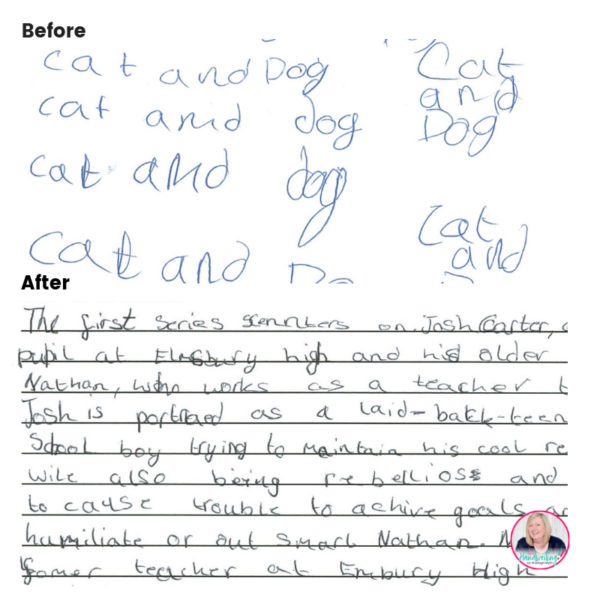 examples fo before and after from online handwriting lessons Manchester
