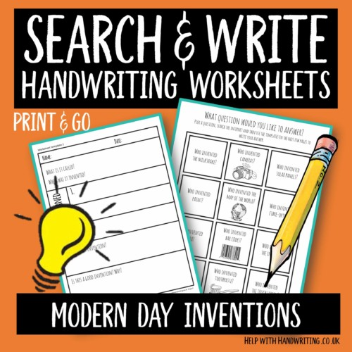 search & write handwriting worksheet cover image Modern day inventions