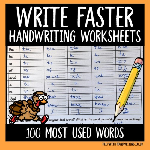 write faster handwriting worksheets cover image 100 most used words