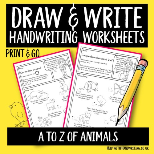 handwriting worksheet cover image draw & write A to Z of animals