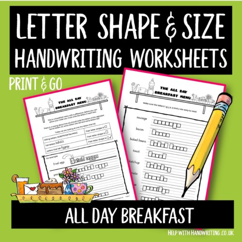 handwriting worksheet cover image All day breakfast letter size & shape