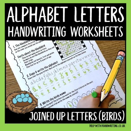 joined up handwriting worksheet cover image Alphabet sequence – write and say
