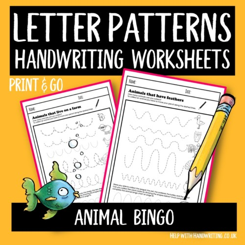 letter patterns handwriting worksheet cover image Animal bingo