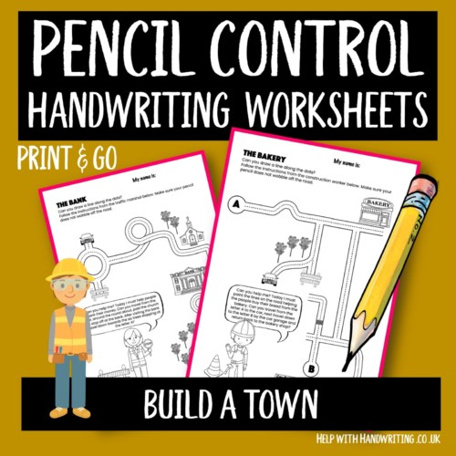 handwriting worksheet cover image pencil control Build a town