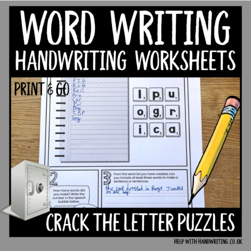 word writing handwriting worksheets cover image Crack the letter puzzles