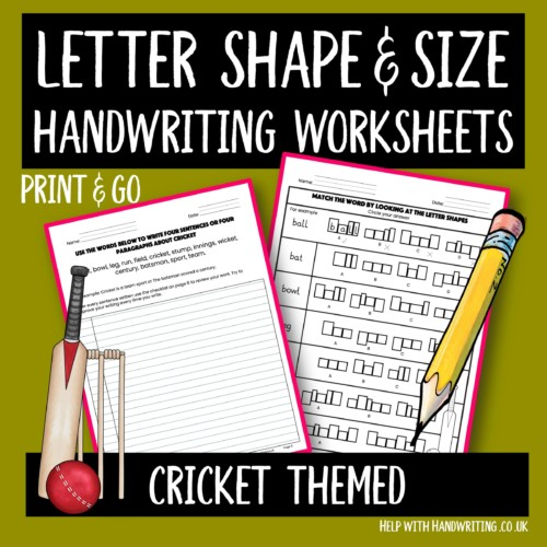 handwriting worksheets cover image cricket themed