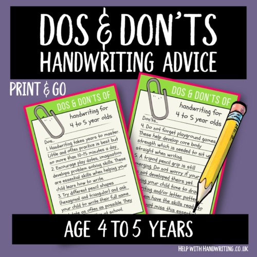 handwriting worksheet cover image Dos & Don'ts 4 to 5 yrs