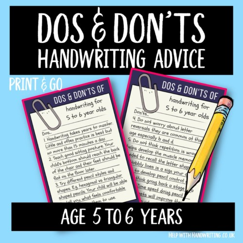 handwriting worksheet cover image dos & don'ts 5 to 6 yrs
