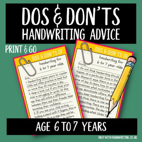 handwriting worksheet cover image Dos & Don'ts 6 to 7 yrs