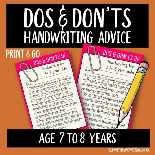 handwriting worksheet cover image Dos & Don'ts 7 to 8 yrs