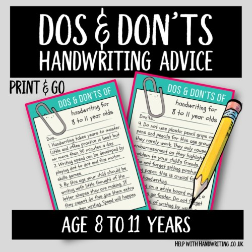 handwriting worksheet cover image Dos & Don'ts 8 to 11 yrs