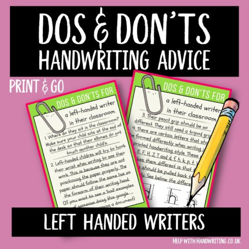 handwriting worksheet cover image Dos & Don'ts Left handed writer