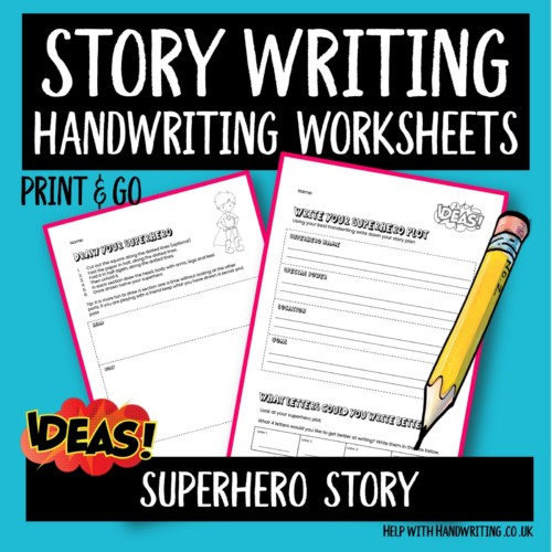 story writing handwriting worksheet cover image Draw & write a superhero story