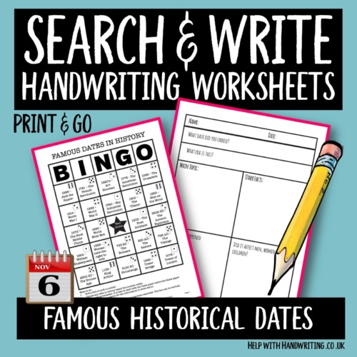 search & write handwriting worksheet cover image Famous historical dates