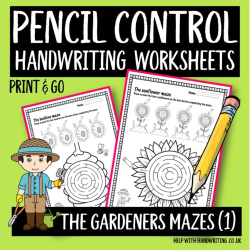 pencil control handwriting worksheet cover image Gardeners maze level 1
