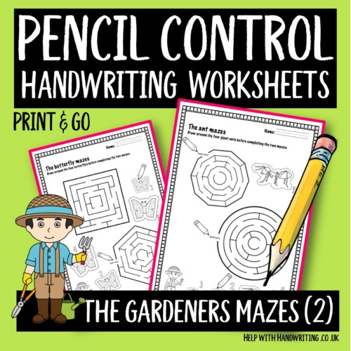 pencil control handwriting worksheet cover image Gardeners maze level 2
