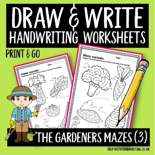 Draw & write handwriting worksheet cover image Gardeners maze 3