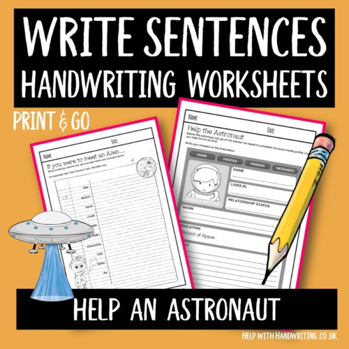 write sentences handwriting worksheet cover image help an astronaut