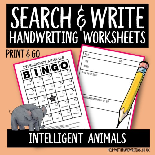 search & write handwriting worksheet cover image Intelligent animals