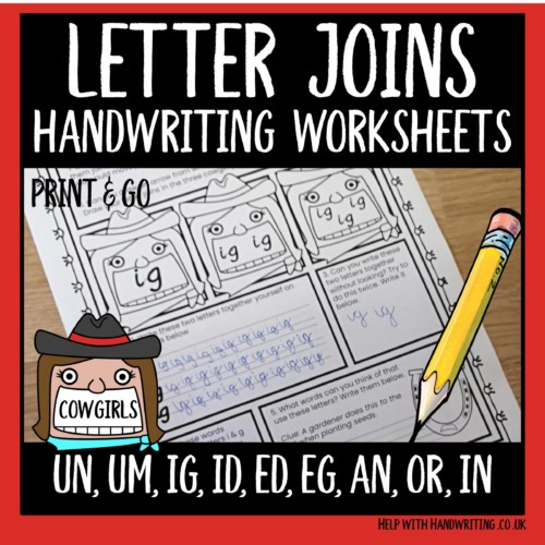 joined up handwriting worksheets cover image letter joins cowgirl