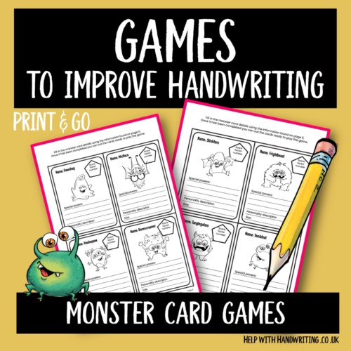 handwriting games worksheet cover image Monster card games