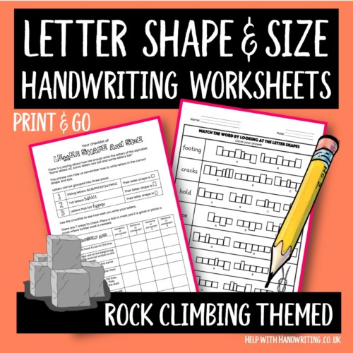 handwriting worksheet cover image Rock climbing letter size & shape