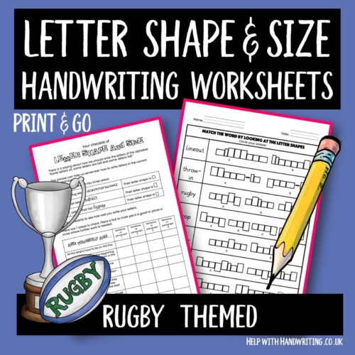 handwriting worksheet cover image Rugby letter size & shape