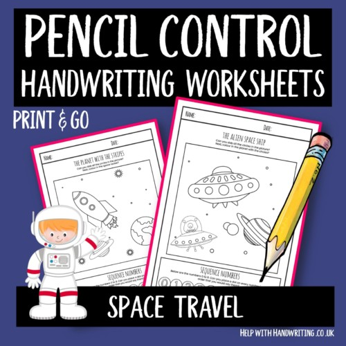 pencil control handwriting worksheet cover image for pencil control worksheet on space travel
