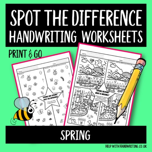 handwriting worksheet cover image Spring spot the difference