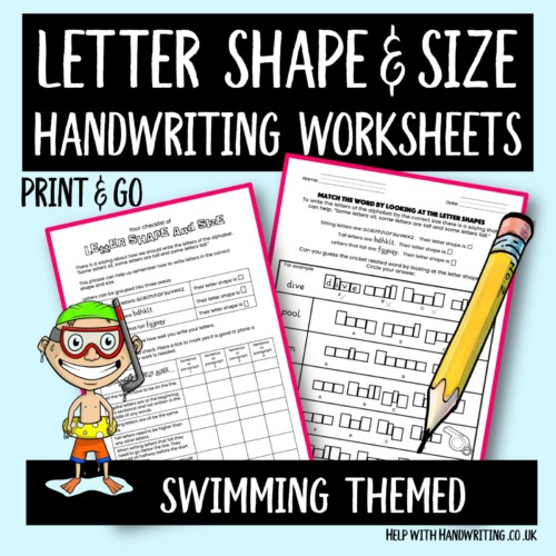 handwriting worksheet cover image Swimming letter size & shape
