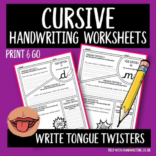 cursive handwriting worksheet cover image Tongue twisters