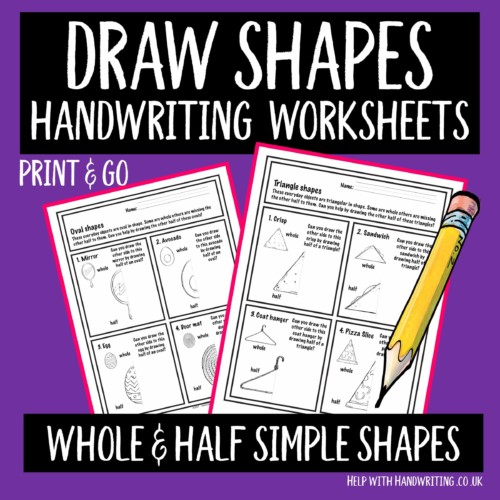 draw shapes handwriting worksheets cover image whole & half drawings