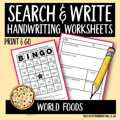 search & write handwriting worksheet cover image world foods