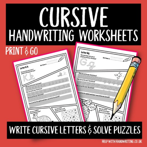 Cursive handwriting worksheet cover image Write letters solve puzzles