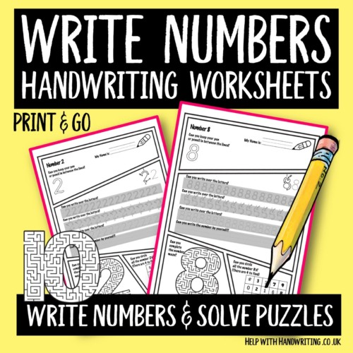 handwriting worksheet cover image Write numbers solve puzzles
