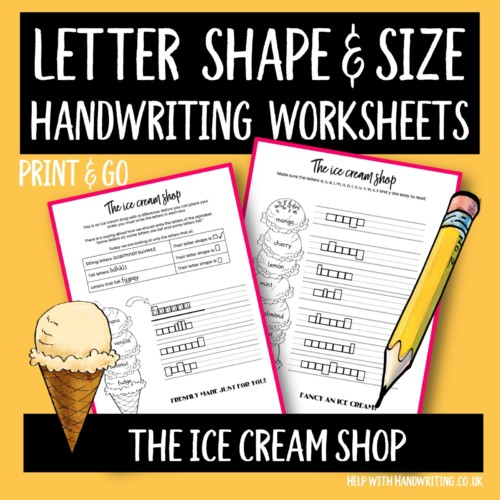 handwriting worksheet cover image ice cream shop letter size & shape
