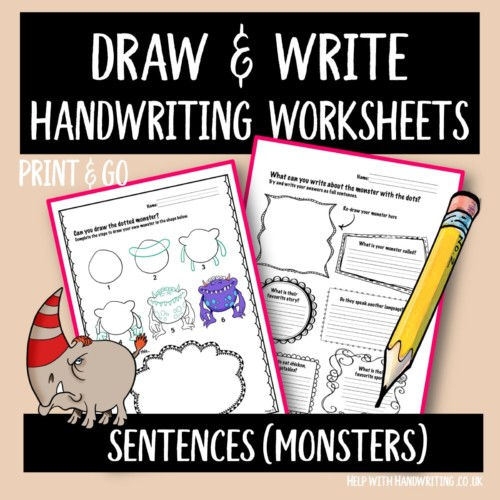 handwriting worksheet cover image monster draw & write sentences