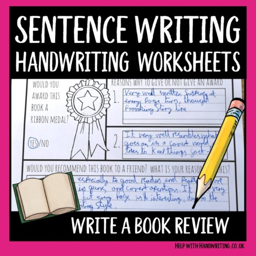 sentence writing handwriting worksheet cover image write a book review