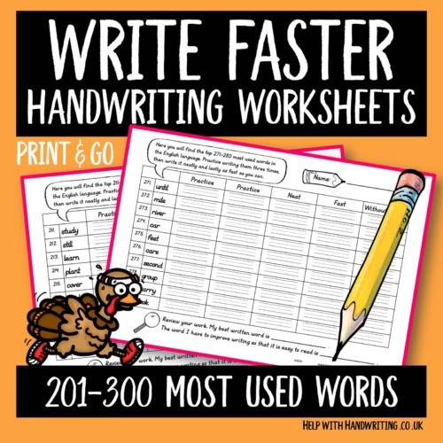 handwriting worksheet cover image 201-300 most used words