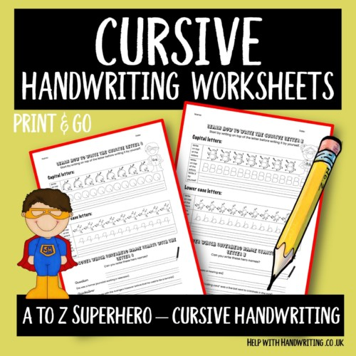 cursive handwriting worksheet cover image A to Z Superhero cursive handwriting