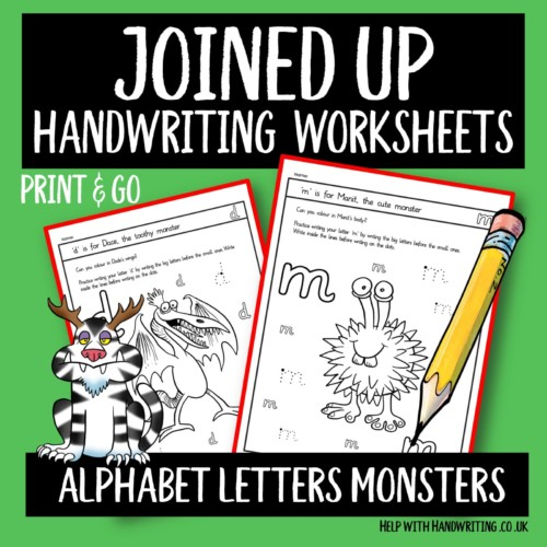joined up handwriting worksheet cover image alphabet letters monsters