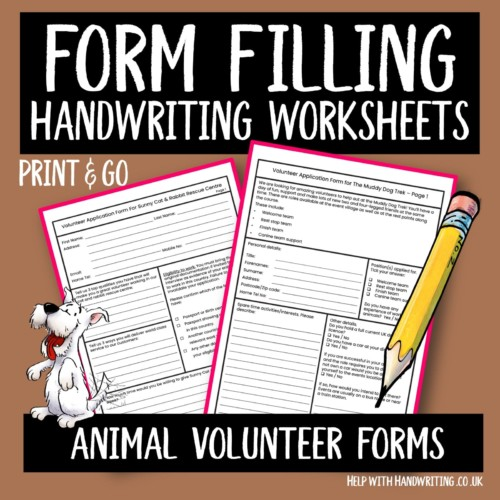 form filing handwriting worksheet cover image Animal volunteer forms