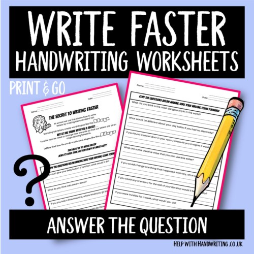 write faster handwriting worksheet cover image answer the question