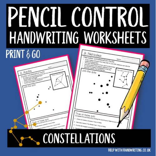 handwriting worksheet cover image constellations