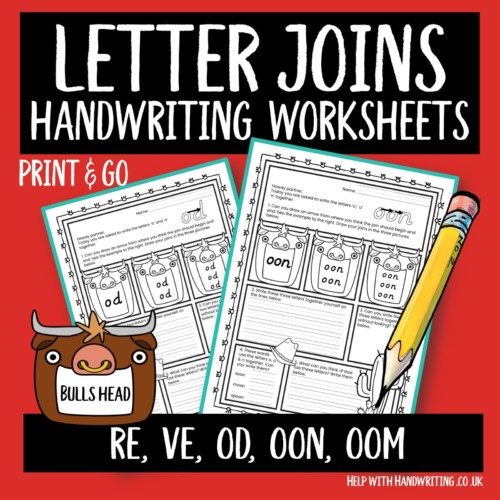 joined up handwriting worksheet cover image letter joins bulls head