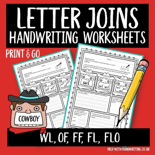 joined up handwriting worksheet cover image letter joins cowboy