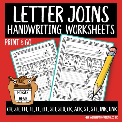 handwriting worksheet cover image letter joins horses head