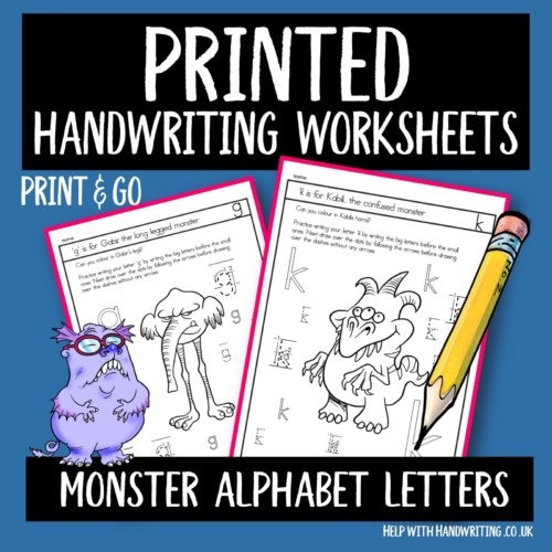 printed style handwriting worksheet cover image monster alphabet letters